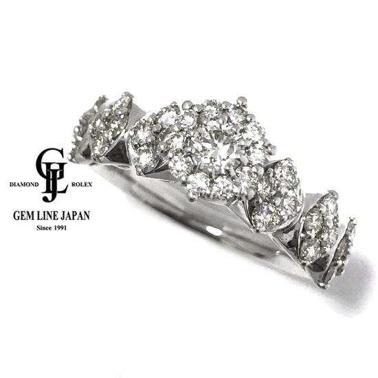 【中古】K18WG ダイヤモンド 1.00ct デザイン リング