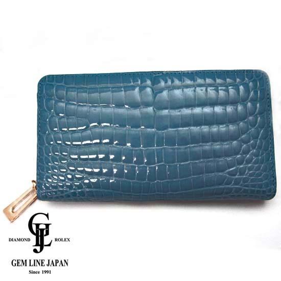 【新品】クロコダイル 男女兼用 艶ありブルー ラウンドファスナー長財布