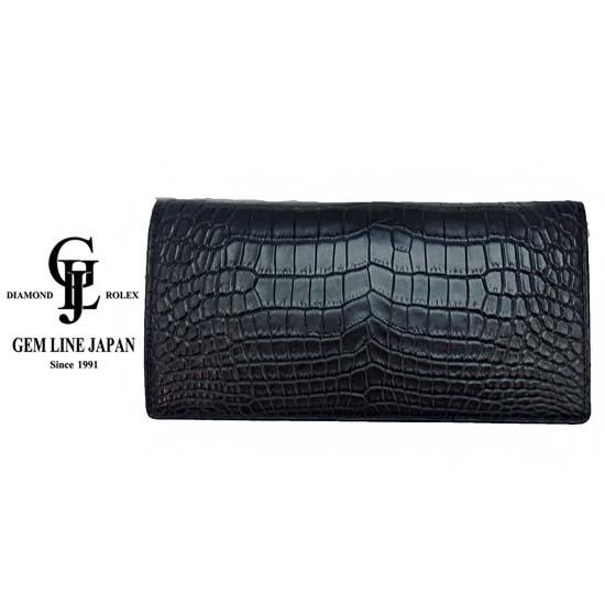 【新品】 クロコダイル 無双 二つ折り 長財布 日本製 黒マット