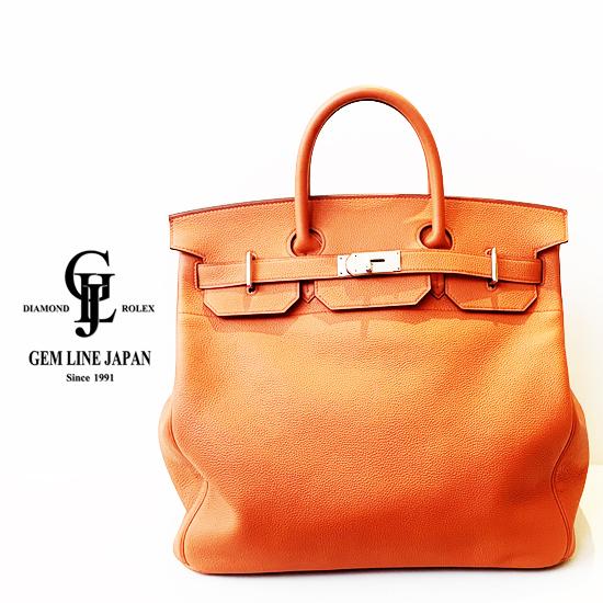 【新品】金具保護シール付 エルメス オータクロア40 トゴ オレンジポピー シルバー金具 X刻印 ハンドバッグ