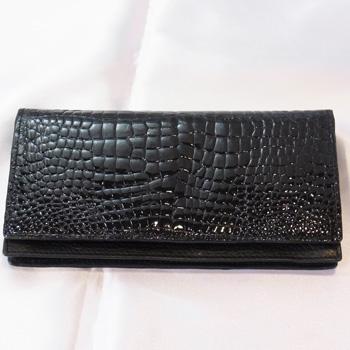 【新品】ヘンローン社製フラップ クロコダイル長財布ブラック