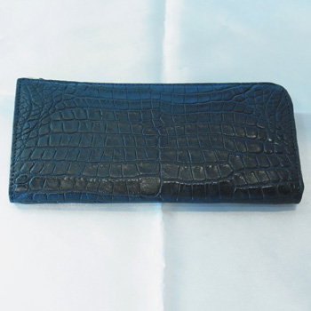 【新品】クロコダイル長財布 L字ファスナー 紺色 カード12枚