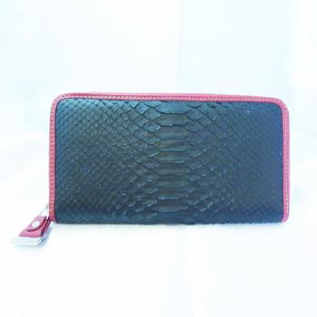 【新品】男女兼用ラウンドファスナー黒×赤 パイソン長財布