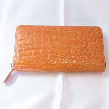 【新品】クロコダイル 多機能 男女兼用ラウンドファスナー長財布 シャイニーオレンジ