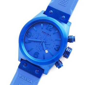 【未使用品】【BRERA OROLOGI】ブレラ オロロジ エテルノ クロノ トーナル BRETC4521 カレンダー クロノグラフ ブルー イオンプレート加工ステンレススチール製×ラバー クォーツ式メンズ腕時計