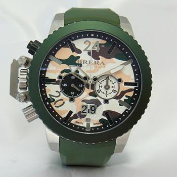 【新品】【BRERA OROLOGI】ブレラ オロロジ ミリターレ2 カモフラージュ柄×グリーン 左リューズ BRML2C4806 ステンレススチール製×ラバー クオーツ式 48mm メンズ腕時計
