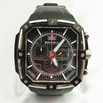 【未使用品】【BRERA OROLOGI】ブレラ オロロジ スーパースポルティーボ スクエア BRSS2C4601 IP加工 ステンレススチール製×ブラックラバー スイス製クォーツ式メンズ腕時計
