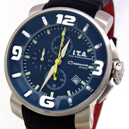 【中古】【I.T.A.】アイティーエー カサノバ クロノ 12.70.04 ステンレススチール×カーフ製レザー 5気圧防水 クロノグラフ クォーツ式メンズ腕時計