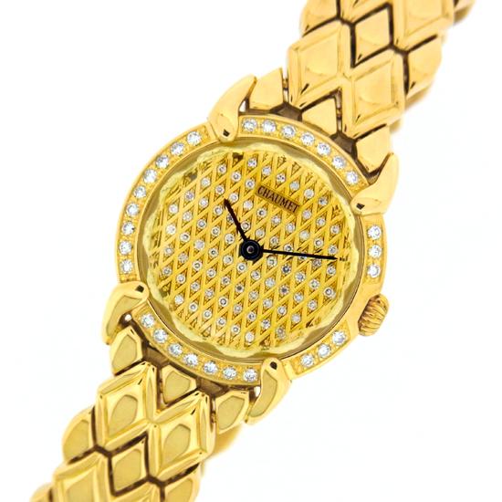 ショーメ 時計 レディース グリフィス K18YG 金無垢 全面ダイヤ クォーツ式 女性用腕時計【中古】