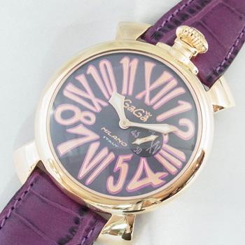 ガガミラノ スリム 46mm ゴールドプレート 5085.3 ピンクゴールドカラーコーティング ステンレススチール製×パープルカラーレザー クォーツ式 ユニセックス腕時計【新品】