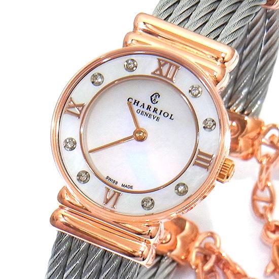 シャリオール サントロペ ホワイトシェル文字盤×ローマ数字 ピンクゴールドプレート×SSワイヤー 028PD1.54.552 クォーツ式レディース腕時計【新品】