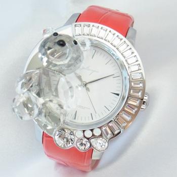 【未使用品】【Galtiscopio】ガルティスコピオ ダルミ・アン・アブラッチオ 熊5 ホワイトダイヤル スワロフスキー ステンレススチール製×赤レザー 42mm スイス製クォーツ式レディース腕時計