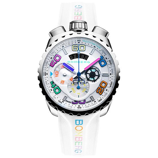 【新品】ボンバーグ BOLT-68 クロマII アイス BS45CHSS.049-5.3 ステンレススチール製×シリコンラバー クォーツ クロノグラフ メンズ腕時計