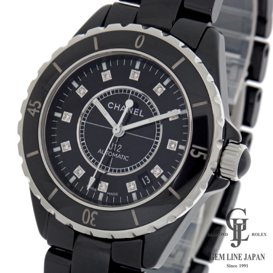 【中古】シャネル 時計 メンズ J12 ブラックセラミック 38mm 12Pダイヤ H1626 自動巻き 腕時計