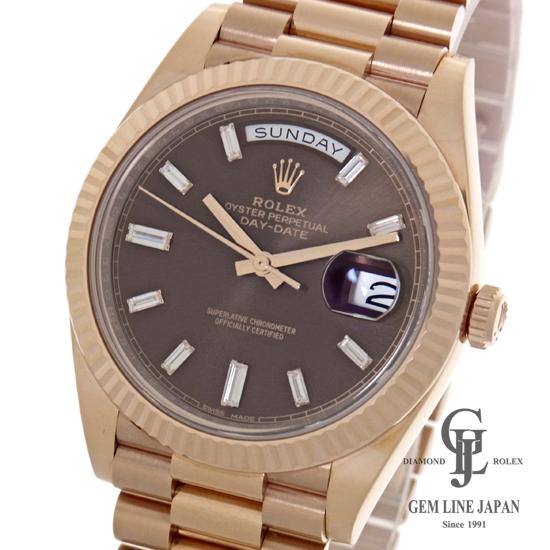 【美品】ロレックス 228235A デイデイト40 ダイヤモンド チョコレートブラウン文字盤 ローズゴールド 金無垢 自動巻き メンズ腕時計【中古】