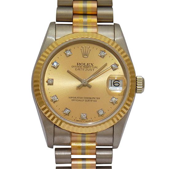 ロレックス デイトジャスト 68279BIC(G) トリドール 10Pダイヤモンドインデックス シャンパンゴールド文字盤 イエローゴールド/ホワイトゴールド/ピンクゴールド製 自動巻ボーイズ腕時計【中古】