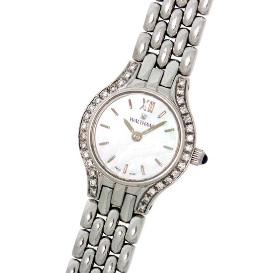 ウォルサム K18WG無垢 ダイヤベゼル シェル文字板 WS78 クォーツ式 レディース腕時計 ホワイトゴールド製【中古】