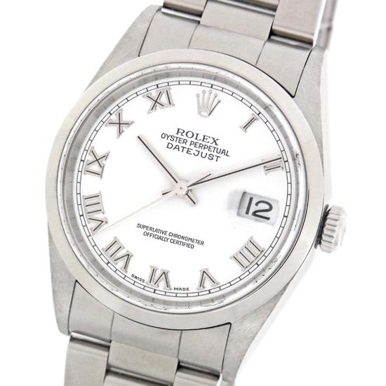 仕上げ済み ロレックス デイトジャスト 16200 A番 白文字盤 ローマ数字インデックス ステンレススチール製 自動巻きメンズ腕時計 【中古】