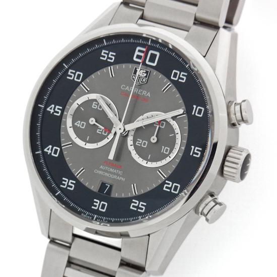 タグホイヤー カレラ キャリバー36 クロノグラフ フライバック CAR2B10.BA0799 ブラック/グレー文字盤 ステンレス製 SS シースルーバック 自動巻メンズ腕時計【中古】