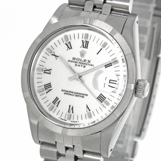 ロレックス パーペチュアル デイト 15010 ホワイトダイアル ローマ数字 SS ステンレス製エンジンターンドベゼル 自動巻きメンズ腕時計【中古】