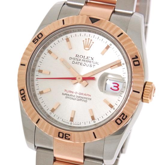 【中古】ロレックス デイトジャスト ターノグラフ 116261 シルバー文字盤 D番 ルーレット刻印 ステンレススチール・ピンクゴールド製 SS/PG コンビ 自動巻き メンズ 腕時計