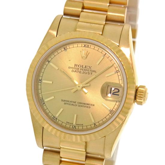 仕上げ済み ロレックス デイトジャスト 78278 A番 K18YG 金無垢 31mm シャンパンゴールド文字盤 バーインデックス 自動巻きボーイズ腕時計【中古】