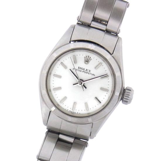 ヴィンテージ ロレックス オイスター パーペチュアル 6623 白文字盤 バー SS ステンレススチール製 自動巻きレディース腕時計【中古】
