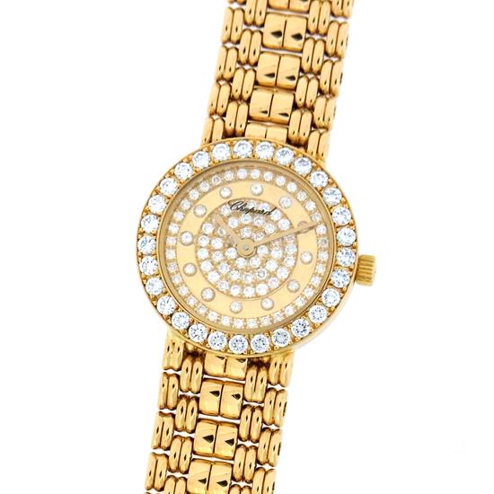 ショパール 10/5602 全面ダイヤ文字盤 ミラー K18YG無垢 クォーツ式レディース腕時計【中古】