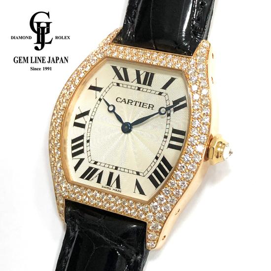 【中古】カルティエ トーチュLM 2498 純正ダイヤベゼル PG/革 ユニセックス 腕時計