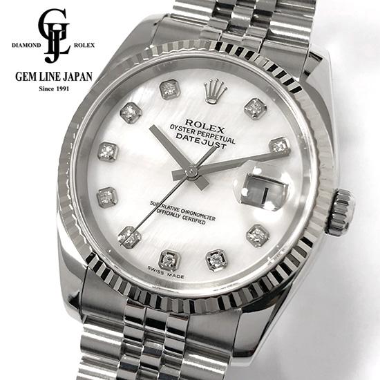 【中古】ロレックス デイトジャスト 116234NG D番 WG/SS 純正10Pダイヤモンド ホワイトシェル文字盤 メンズ 腕時計