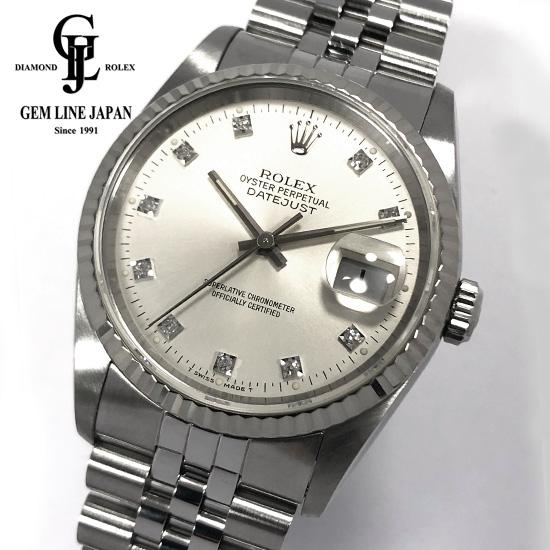 【中古】ギャラ付 ロレックス デイトジャスト 16234G X番 WG/SS 純正10Pダイヤモンド メンズ 腕時計