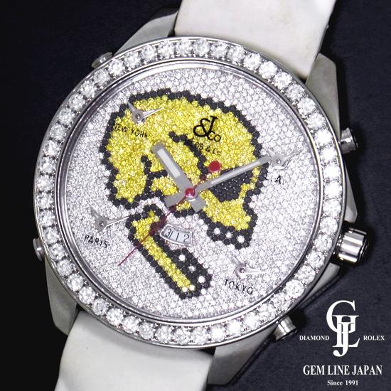 ジェイコブ ファイブタイムゾーン スカル JC-SKULL2 全面ダイヤ ステンレススチール製×革 47mm クォーツ メンズ腕時計【中古】