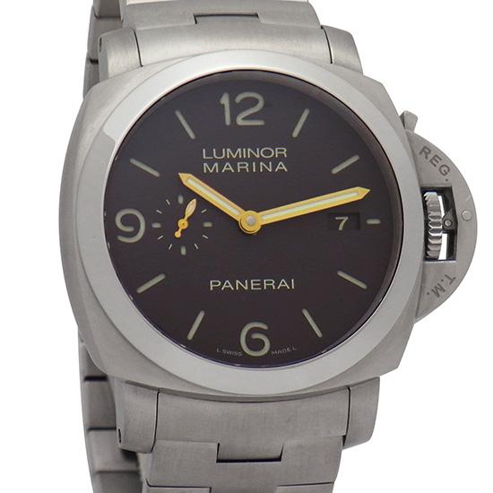 【中古】オフィチーネ パネライ ルミノール マリーナ 1950 3デイズ PAM00352 ブラウン文字盤 44mm チタン製 シースルーバック 300M防水 自動巻き メンズ腕時計