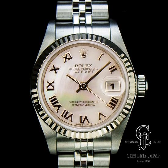 【中古】ロレックス レディース デイトジャスト ピンクシェル文字板 ローマ数字 79174NR ホワイトゴールドベゼル×ステンレススチール製 自動巻き 女性用腕時計