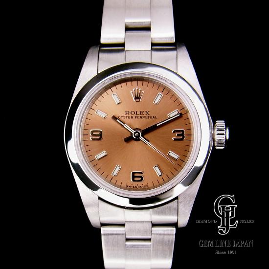 【中古】ロレックス レディース オイスターパーペチュアル ピンク文字盤 アラビア数字×バー ステンレス 76080 A番 自動巻き 女性用腕時計