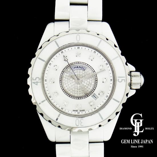 【中古】シャネル J12 H2123 白セラミック/ダイヤモンド レディース 腕時計