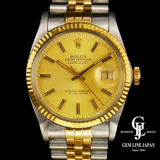 【中古】ロレックス 16013 メンズ デイトジャスト コンビ シャンパンゴールド文字盤 バー 腕時計
