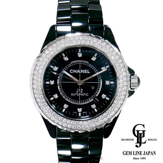 【中古】シャネル 42mm J12 H2014 ベゼル 純正 ダイヤ 黒セラミック メンズ 腕時計