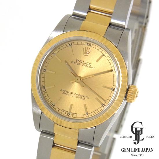 【中古】ロレックス ボーイズ オイスター パーペチュアル コンビ 77513 シャンパンゴールド文字盤 YG/SS A番 自動巻き ユニセックス腕時計