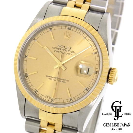【中古】ロレックス デイトジャスト16233 T番 メンズ コンビ シャンパンバー 自動巻き 腕時計