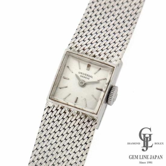 【中古】アンティーク 時計 レディース ユニバーサル K18WG無垢 スクエア 手巻き シルバー文字盤 女性用腕時計