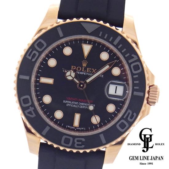 【中古】美品 ギャラ付 ロレックス ヨットマスター268655 ピンクゴールド ラバーベルト ボーイズ 腕時計