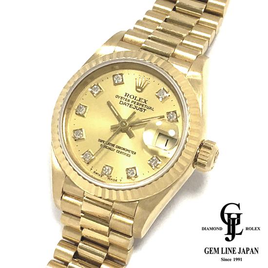 【中古】ロレックス デイトジャスト 69178G 金無垢 10Pダイヤ シャンパンゴールド レディース 腕時計