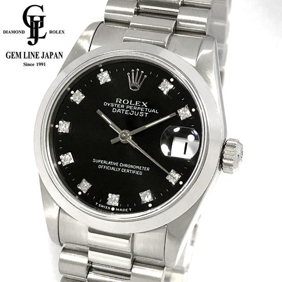 【中古】ロレックス PT無垢 68246G デイトジャスト N番 10Pダイヤ黒文字盤 ボーイズ 腕時計