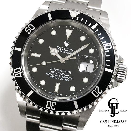 【中古】Aランク ロレックス サブマリーナ 16610 A番 黒文字盤 メンズ 腕時計