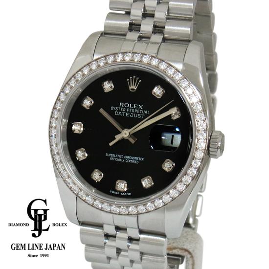 【中古】Sランク ロレックス デイトジャスト ベゼルダイヤ 10Pダイヤ WG/SS コンビ メンズ 腕時計 自動巻き 116244G