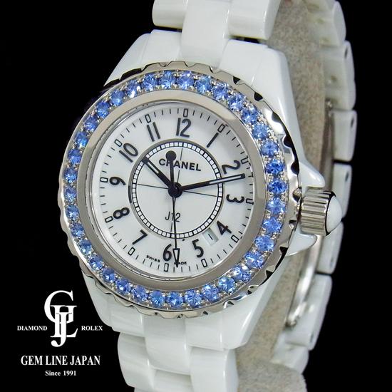 【中古】美品 シャネル J12 H1179 ブルーサファイアベゼル 白セラミック レディース 腕時計