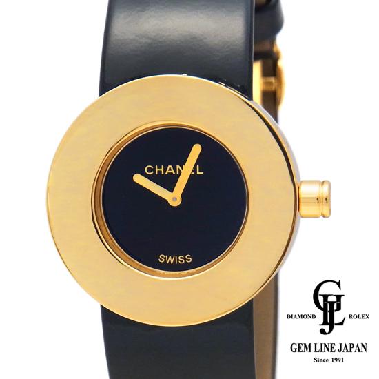 【中古】【美品 新品革付】シャネル ラロンド H0583 K18YG/革 レディース 腕時計