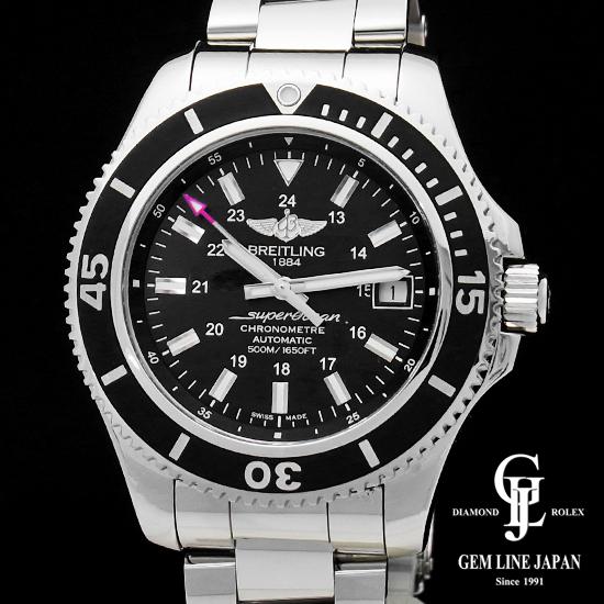 【中古】【美品 2018年12月購入】ブライトリング スーパーオーシャン2 42 A182B71PSS SS メンズ 腕時計