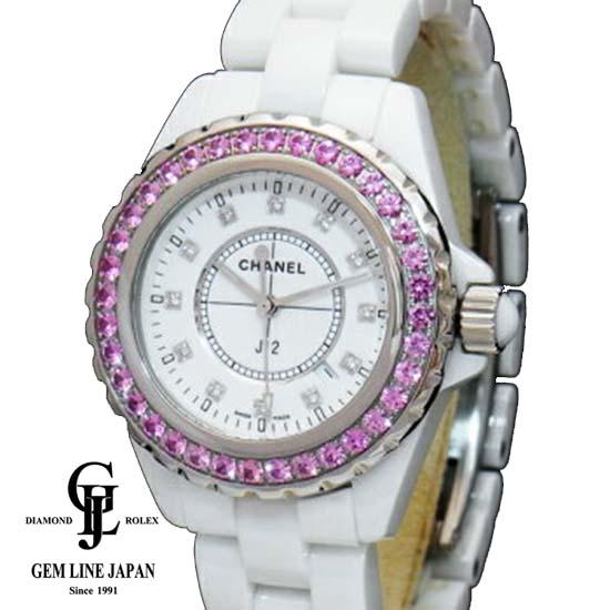 【中古】Aランク シャネル J12 H2010 白セラミック ピンクサファイアベゼル 12Pダイヤモンド レディース 腕時計